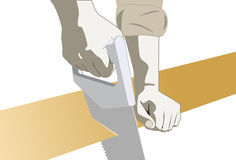 Le mani del carpentiere con hanno veduto Immagini Stock Libere da Diritti