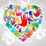 Le mani del cuore indica il giorno ed il materiale illustrativo di biglietti di S. Valentino Immagine Stock Libera da Diritti