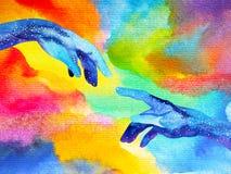 Le mani del dio si collegano ad un'altra pittura dell'acquerello di progettazione dell'illustrazione del mondo illustrazione di stock