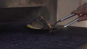 Le mani del forno della griglia del cuoco unico e del piatto aperti di tirata con il pesce facendo uso delle tenaglie si chiudono archivi video