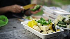 Le mani dell'amico raggruppano preparare le carni e la verdura sullo spiedo per il bbq 4K video d archivio