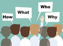 Le mani dell'uomo d'affari sollevate su fanno le domande Immagine Stock Libera da Diritti