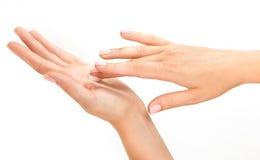 Le mani della bella donna scremano con attenzione Fotografie Stock Libere da Diritti
