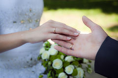 Le mani della coppia con le fedi nuziali Immagini Stock