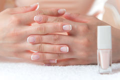 Le mani della donna con il bello manicure francese immagini stock