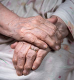 Le mani della donna corrugata anziana Fotografia Stock