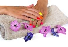 Le mani della giovane donna con il manicure luminoso Fotografia Stock