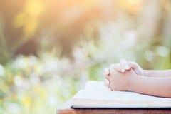 Le mani della ragazza del piccolo bambino hanno piegato nella preghiera su una bibbia santa Immagini Stock Libere da Diritti