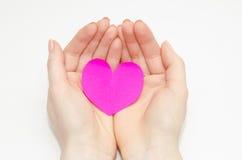 Le mani delle donne che tengono un cuore rosa Immagini Stock