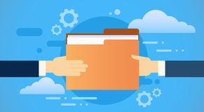 Le mani di affari danno le carte del documento della cartella, base di dati della nuvola di informazioni della parte illustrazione di stock