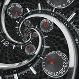 Le mani di orologio rosse nere d'argento moderne dell'orologio di orologio di modo hanno torto alla spirale surreale di tempo Abs Immagini Stock Libere da Diritti