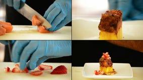 Le mani di un cuoco unico professionista che cucina il mango hanno caramellato il salmone stock footage