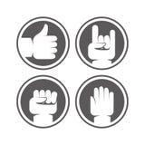 Le mani ed i gesti di vettore firma in bianco e nero i colori royalty illustrazione gratis