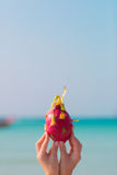 Le mani femminili che tengono un drago fruttificano sul fondo del mare Fotografia Stock