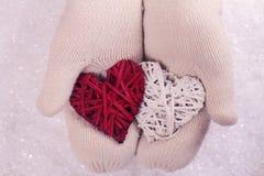 Le mani femminili nel bianco hanno tricottato i guanti accoglienti che tengono due cuori su un fondo bianco della neve Decorazion Fotografia Stock