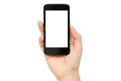 Le mani femminili tengono un telefono cellulare, modello del modello Isolato su priorità bassa bianca Fotografie Stock