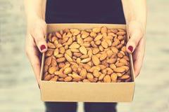 Le mani femminili tengono una scatola dei dadi e dei frutti secchi Fotografia Stock Libera da Diritti