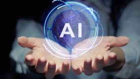 Le mani mostrano l'ologramma rotondo AI stock footage
