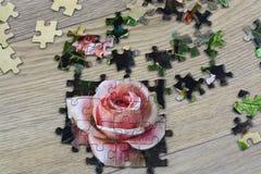 Le mani raccolgono il puzzle Fotografie Stock Libere da Diritti