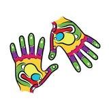 Le mani schizzano per la vostra progettazione, reflessologia di massaggio Fotografie Stock