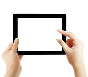 Le mani stanno indicando sullo schermo di tocco, ridurre in pani di tocco Fotografia Stock Libera da Diritti