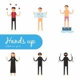 Le mani su, hanno messo le icone piane Immagini Stock Libere da Diritti
