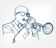 Le mani suonano la tromba linea strumento di schizzo di musica di progettazione di vettore illustrazione vettoriale