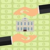 Le mani tengono la banca La Banca fra due mani contro lo sfondo di soldi illustrazione vettoriale