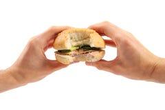Le mani tengono un hamburger immagini stock