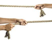 Le mani tirano una corda Fotografia Stock