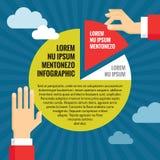 Le mani umane con il diagramma a torta - concetto di affari di Infographic - Vector l'illustrazione nella progettazione piana di  Fotografia Stock