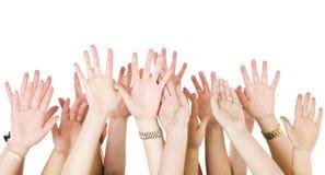 Le mani umane si sono alzate Fotografia Stock