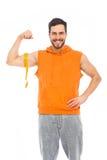 Le mannen med muskler arkivbilder