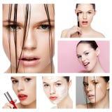 Le mannequin de beauté de collage avec naturel composent images stock