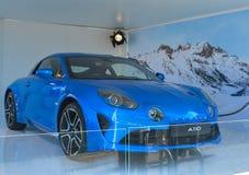 LE MANS, FRANÇA - 18 DE JUNHO DE 2017: Exposição do carro de esportes modelo francês novo A110 alpino Imagens de Stock