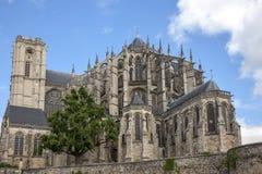 Le Mans França, o 15 de outubro de 2018 Saint Julien Cathedral em Le Mans imagem de stock