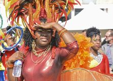 LE MANS, FRANCE - APRIL 22, 2017: Festival Evropa jazz A Woman dancing in Caribbean costumes stock photos