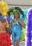 LE MANS, FRANCE - APRIL 22, 2017: Festival Evropa jazz A Woman dancing in Caribbean costumes. LE MANS, FRANCE - APRIL 22, 2017: Festival Evropa jazz A Carnival Royalty Free Stock Photo