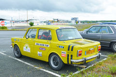 LE MANS, FRANCE - APRIL 30, 2017: Vintage french race touring yellow car Simca Stock Photos
