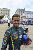 LE MANS, FRANCE - 11 JUIN 2017 : Pilote de voiture de course portugais Pedro Lamy Aston Martin Racing pendant le défilé de l'emba Image stock