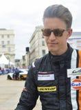 LE MANS, FRANCE - JUNE 11, 2017: Ben Barker Team of Porsche 911 GT3 RSR Parade of pilots racing 24 hours. LE MANS, FRANCE - JUNE 11, 2017: Ben Barker english Royalty Free Stock Photos