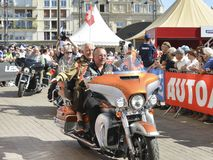 LE MANS, FRANCE - JUNE 16, 2017: Bikers with a Harley Davidson motorbike at a parade of pilots racing. Le mans France Royalty Free Stock Images