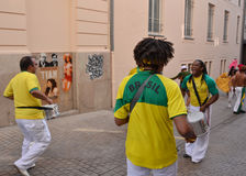 LE MANS, FRANCE - JUNE 13, 2014: Brazilian man dancing at a parade of pilots racing. In Le mans,France royalty free stock images