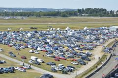 LE MANS - FRANCE, JUNE 17, 2017: cars in the parking station view from above. LE MANS - FRANCE, JUNE 17, 2017: Mans cars in the parking station view from above Royalty Free Stock Images