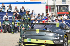 LE MANS, FRANCE - JUNE 11, 2017: Famous Danish racer Nicki Thiim with his race car Aston Martin. Weighing, administrative and tech Royalty Free Stock Images