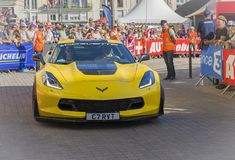 LE MANS, FRANCE - JUNE 16, 2017: Luxurious moderne car Corvette C7R at a parade of pilots racing 24 hours royalty free stock image