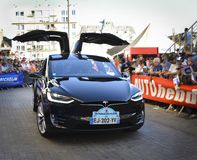 LE MANS, FRANCE - JUNE 16, 2017: New Tesla is American electric car is presented at the parade of pilots racing 24 hours. Of Le mans France Royalty Free Stock Photo