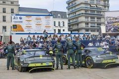 LE MANS, FRANCE - JUNE 11, 2017: Nicki Thiim Richie Stanaway Marco Sorensen Aston Martin racing team. Weighing, administrative and. LE MANS, FRANCE - JUNE 11 Stock Photos