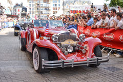 LE MANS, FRANCE - JUNE 13, 2014:Parade of pilots racing.Presentation of Excalibur car. In Le Mans, France Stock Images