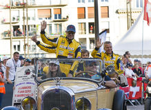 LE MANS, FRANCE - JUNE 16, 2017: Rubens Barrichello brazilian pilot racer with his team Dallara P217 Gibson 29 on a parade of pilo Royalty Free Stock Images